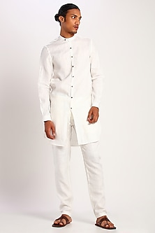 White Linen Kurta by Son Of A Noble SNOB