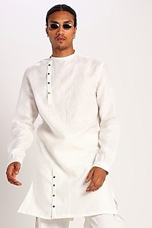 White Kurta With Buttons by Son Of A Noble SNOB
