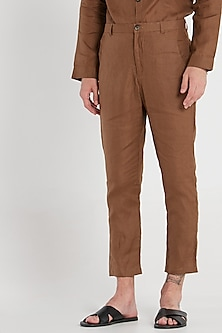 Chipmunk Brown Linen Trousers by Son Of A Noble SNOB
