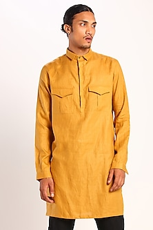 Mustard Constructed Kurta With Pockets by Son Of A Noble SNOB