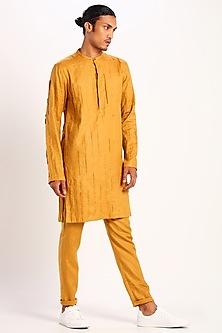 Mustard Linen Textured Kurta by Son Of A Noble SNOB