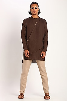 Brown Linen Kurta by Son Of A Noble SNOB