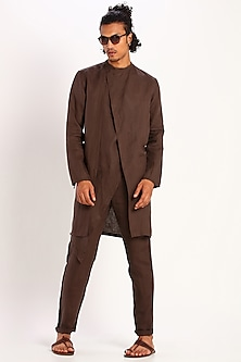 Brown Draped Linen Kurta by Son Of A Noble SNOB