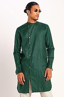 Green Asymmetric Linen Kurta by Son Of A Noble SNOB