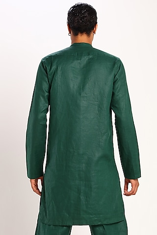 Green Kurta With Slant Buttons by Son Of A Noble SNOB