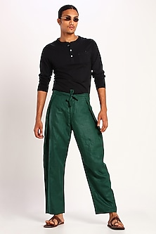 Green Trousers With Tie-Up by Son Of A Noble SNOB