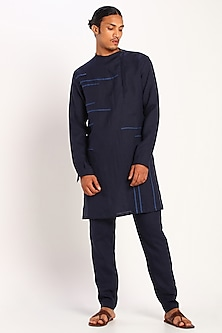 Navy Blue Linen Trousers by Son Of A Noble SNOB