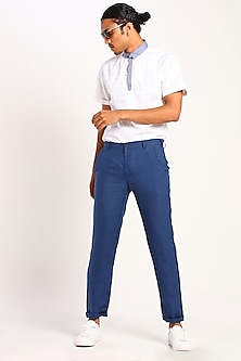 Ink Blue Linen Trousers by Son Of A Noble SNOB
