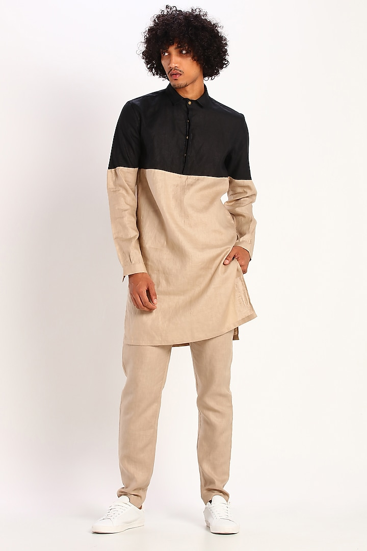 Black & Beige Color Blocked Kurta by Son Of A Noble SNOB