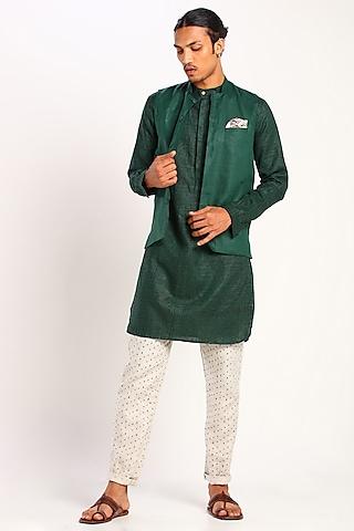 Green Linen Bundi Waistcoat by Son Of A Noble SNOB