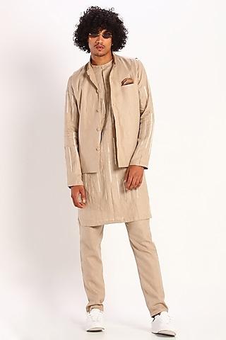 Beige Linen Bundi Waistcoat by Son Of A Noble SNOB