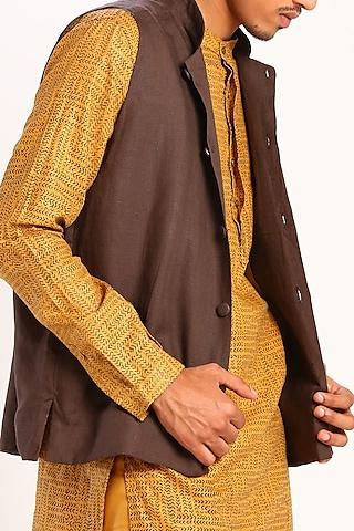 Brown Linen Bundi Waistcoat by Son Of A Noble SNOB