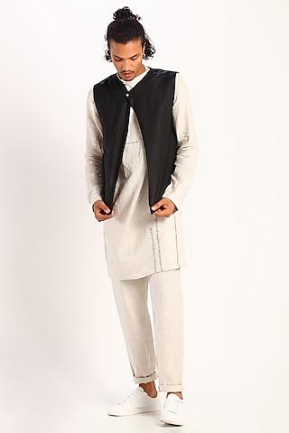 Black Asymmetric Bundi Waistcoat by Son Of A Noble SNOB