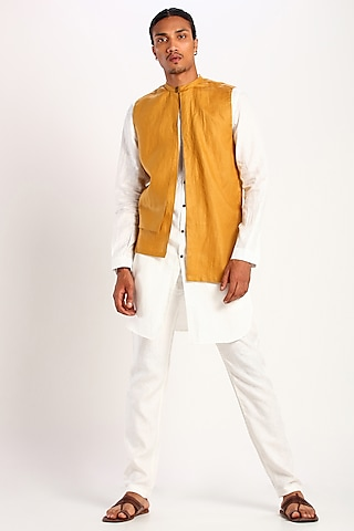 Mustard Asymmetric Bundi Waistcoat by Son Of A Noble SNOB