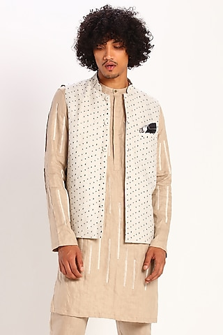 Ivory Geometric Printed Waistcoat by Son Of A Noble SNOB