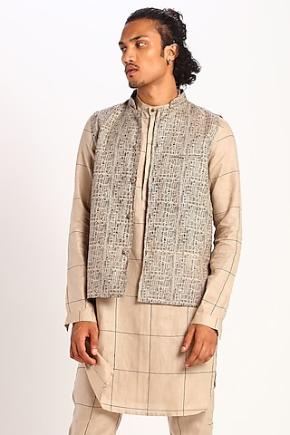 Beige Geometric Printed Waistcoat by Son Of A Noble SNOB