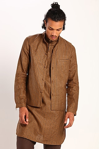 Chipmunk Brown Geometric Printed Waistcoat by Son Of A Noble SNOB