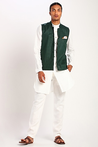 Green Printed Linen Waistcoat by Son Of A Noble SNOB