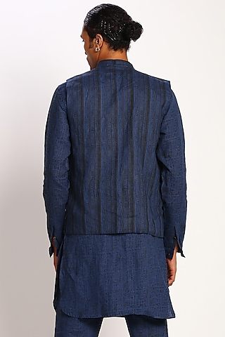 Ink Blue Geometric Printed Waistcoat by Son Of A Noble SNOB