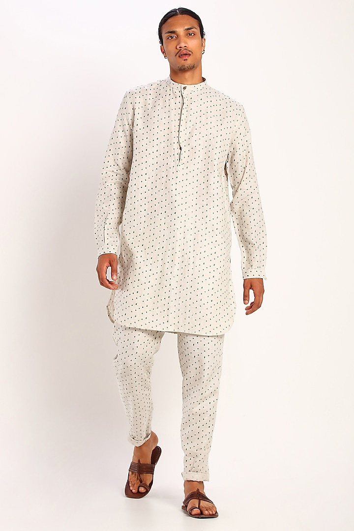 Ivory Linen Printed Kurta by Son Of A Noble SNOB