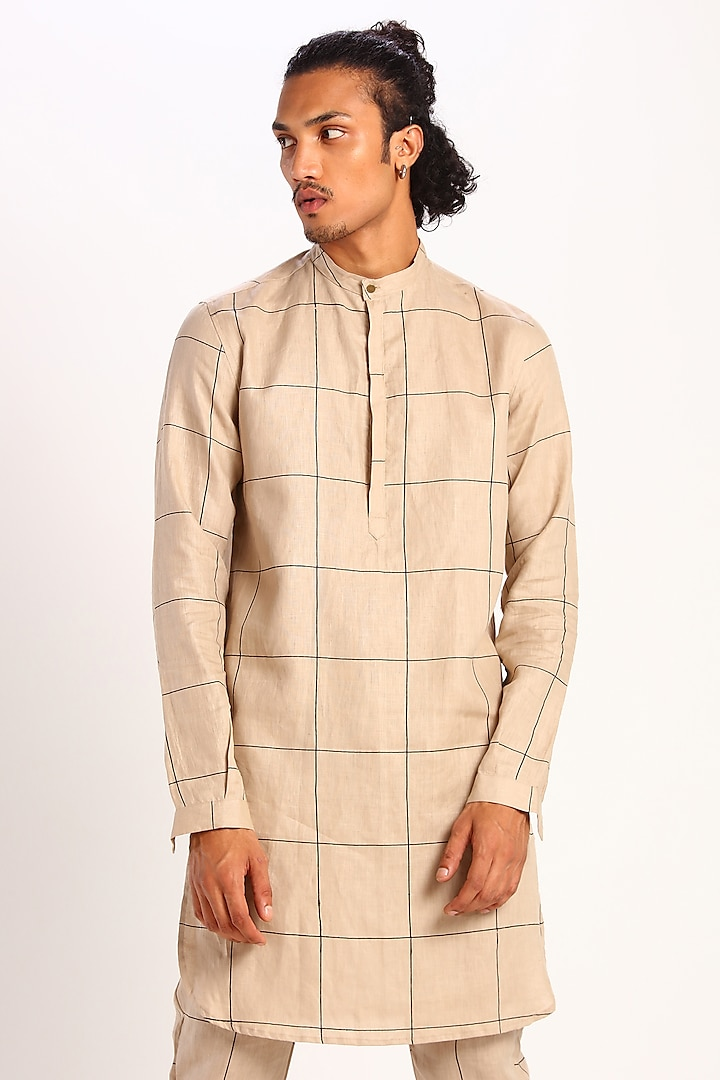 Beige Check Print Kurta by Son Of A Noble SNOB