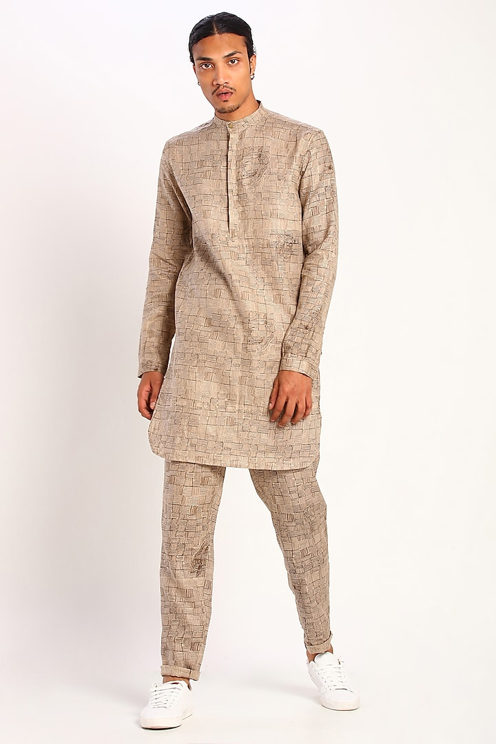 Beige Printed Linen Trousers by Son Of A Noble SNOB