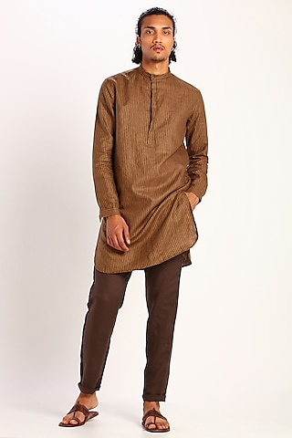 Beige Brown Printed Linen Kurta by Son Of A Noble SNOB