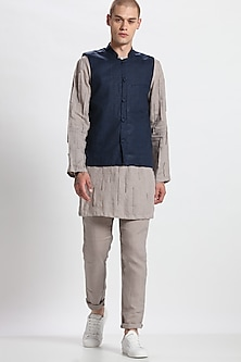 Blue Printed Bundi Waistcoat by Son Of A Noble SNOB