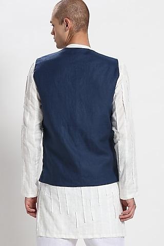 Blue Linen Bundi Waistcoat by Son Of A Noble SNOB