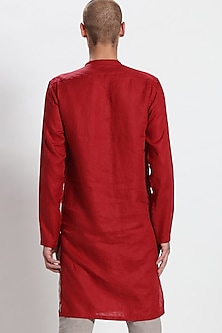 Red Linen Bundi Kurta by Son Of A Noble SNOB