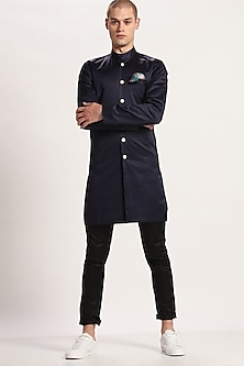 Navy Blue Cotton Long Jacket by Son Of A Noble SNOB