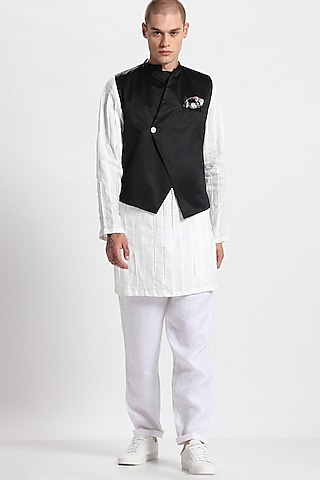 Black Single Button Waistcoat by Son Of A Noble SNOB