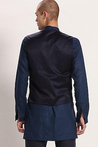 Navy Blue V-neck Waistcoat by Son Of A Noble SNOB