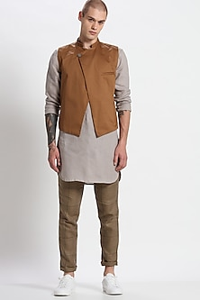 Tan Cotton Asymmetric Waistcoat by Son Of A Noble SNOB