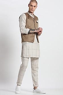 Khaki Round Neck Waistcoat by Son Of A Noble SNOB