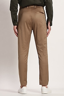 Khaki Straight Fit Trousers by Son Of A Noble SNOB