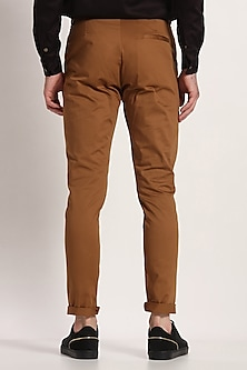 Tan Straight Fit Trousers by Son Of A Noble SNOB