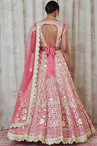 Coral Pink Embroidered Lehenga Set by Shyam Narayan Prasad