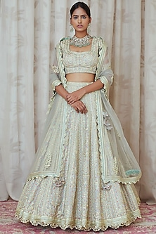 Silver Grey & Mint Embroidered Lehenga Set by Shyam Narayan Prasad