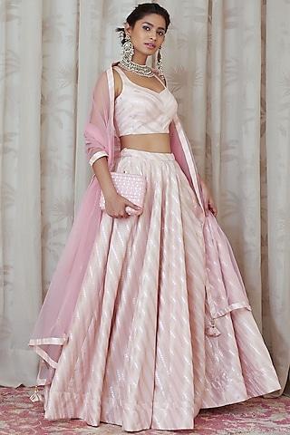 Light Pink Embroidered Lehenga Set by Shyam Narayan Prasad
