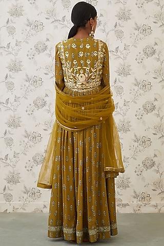 Olive Green Embroidered Anarkali Set by Shyam Narayan Prasad