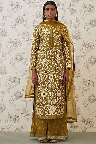 Olive Green Embroidered Kurta Set by Shyam Narayan Prasad