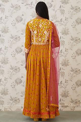 Mustard Yellow Embroidered Anarkali Set by Shyam Narayan Prasad