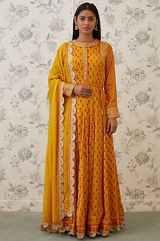 Mustard & Orange Embroidered Anarkali Set by Shyam Narayan Prasad