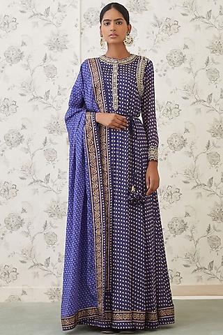 Blue Embroidered & Printed Anarkali Set by Shyam Narayan Prasad