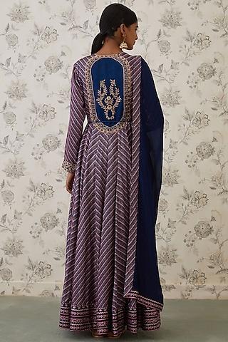 Midnight Blue Embroidered Anarkali Set by Shyam Narayan Prasad