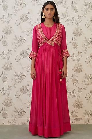 Hot Pink Embroidered Angrakha Kurta Set by Shyam Narayan Prasad