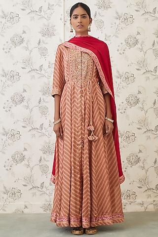 Rust Orange & Red Embroidered Anarkali Set by Shyam Narayan Prasad
