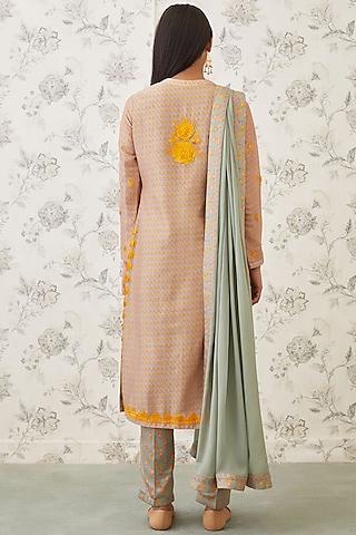 Yellow Embroidered Kurta Set by Shyam Narayan Prasad