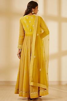 Mustard Yellow Embroidered & Printed Anarkali Set by Shyam Narayan Prasad